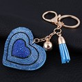 New Crystal Love Keychains Women Bag Purse Key Chain Pendant Charm Blue Heart Car Key Rings Chain Jewelry