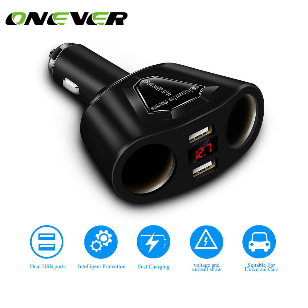 Onever 5V 3.1A Dual USB Car Charger with 2 Cigarette Lighter Sockets 120W Power Support Display Current Volmeter for iPhone