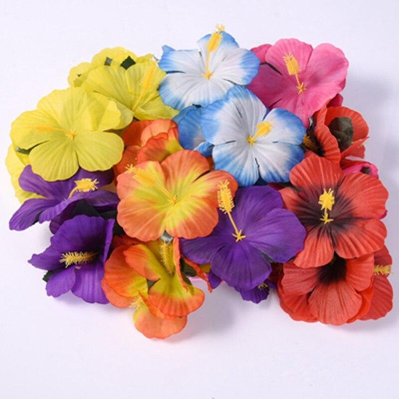 New Artificial Hibiscus Fake Flower Multicolor Plastic Diy Hawaiian