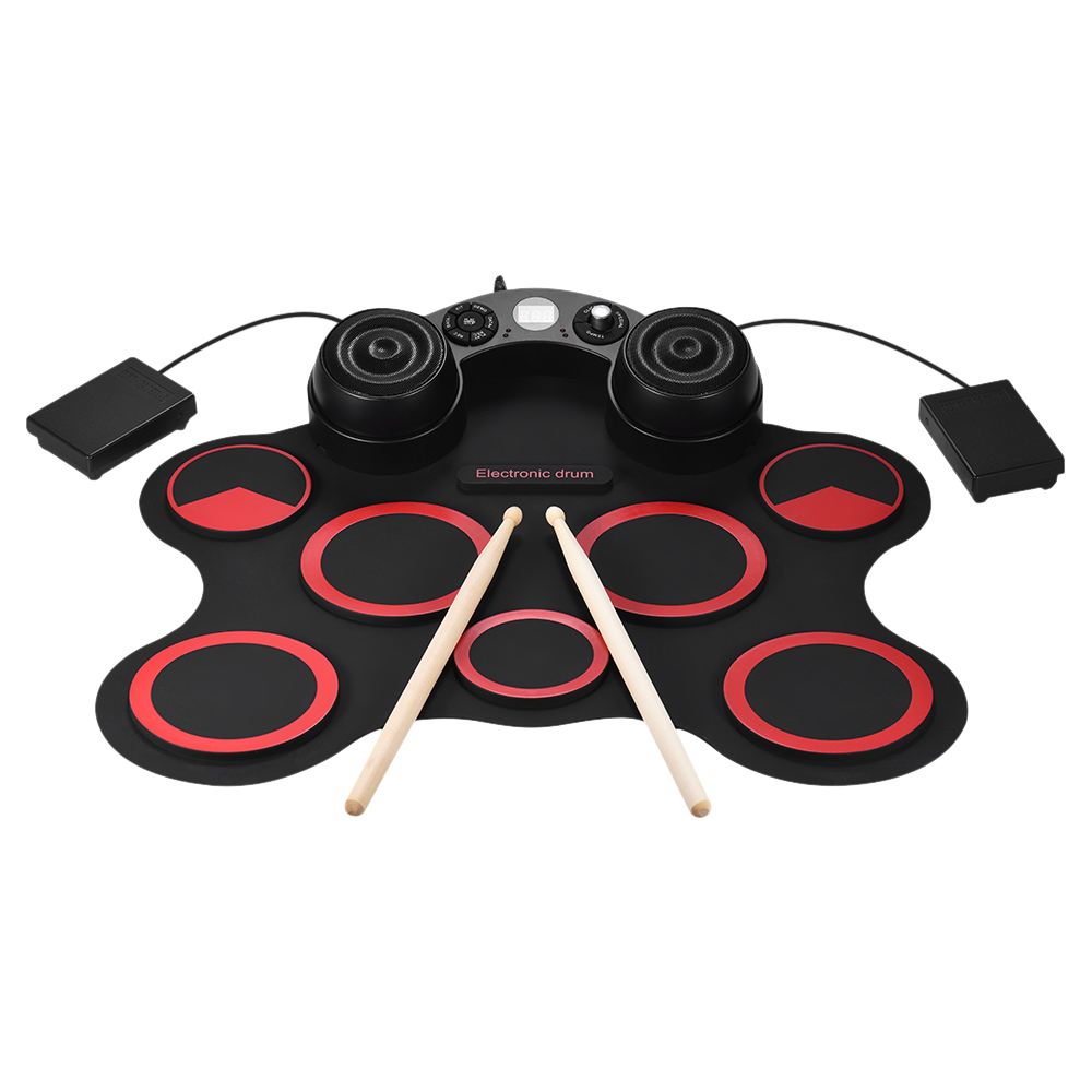 Stereo Electronic Drum Set 7 Silicon Electronics Drum Pads Built in Speakers USB Recording Function with
