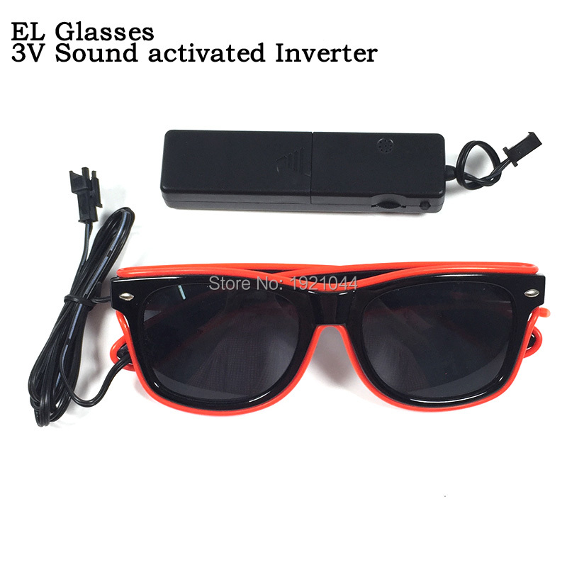 DC 3V Steady on Driver EL Wire Glasses with dark lens Wholesale Product 30pieces Neon Cold Light Glasses Party Props