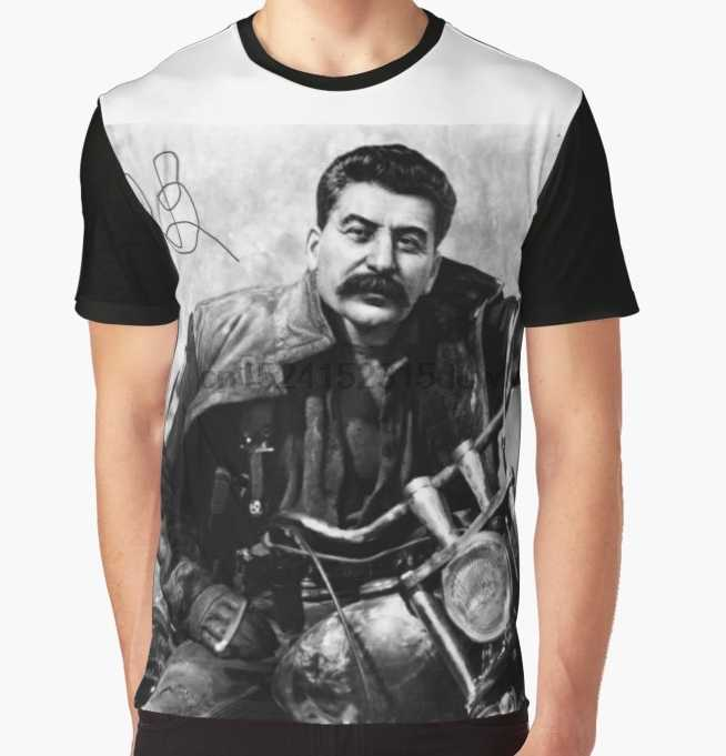 All Over Print T-Shirt Men Funy tshirt Stalin on a bike Short Sleeve O-Neck Graphic Tops Tee women t shirt