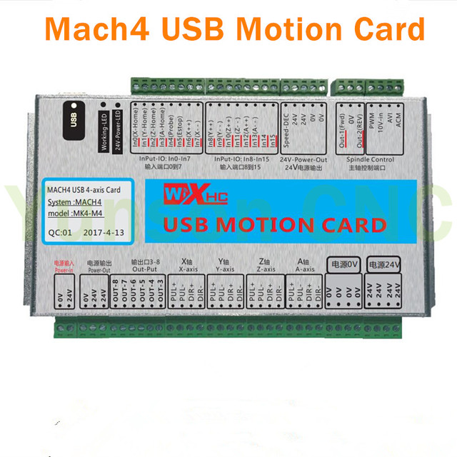 US $225 99 |Mach4 4Axis Motion control card USB Port 2000Khz pluse 16input  8output IO for 3/4 axis CNC Router/Robot/Milling Machine-in Motor