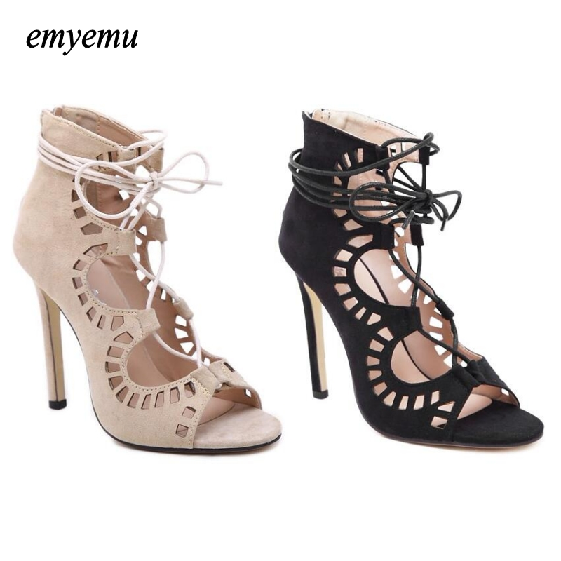 Fashion Women Pumps Women peep toe Shoes Sandals Lace up High Heels Cut Outs Shoes Summer Open Toe Sapato Femininos Plus size 43  2016 retro cut outs design women summer boots open toe sandals plus size 41 42 43 44 45 thin heels summer shoes free shipping