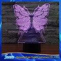 Visión 3D Mariposa Estatua LED Placa De Acrílico 7 Colores Escritorio Dormitorio de La Lámpara de Regalo de La Decoración Luz de La Noche