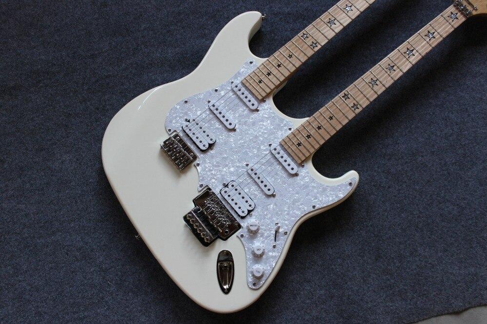 New standard Custom . ST electric guitar. 12 6 strings double neck white gitaar.support customization guitarra329 (1)