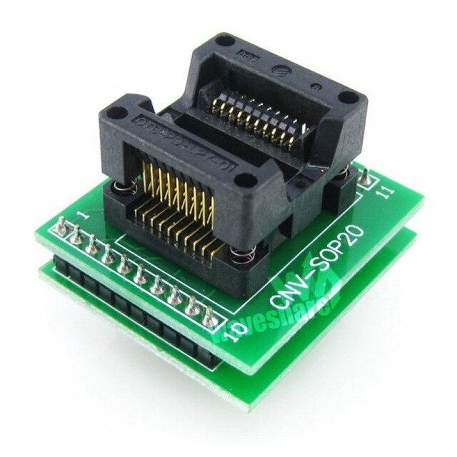Waveshare SOP20 À DIP20 OTS-20-1.27-01 Enplas IC Programmeur Adaptateur Prise Dessai pour SOP8-SOP20 SO8-SO20 SOIC8-SOIC20 Paquet
