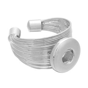 Модные украшения с кнопкой из металла, регулируемое кольцо, 18 мм, кнопки, кольца для самостоятельного изготовления ювелирных изделий ZH043