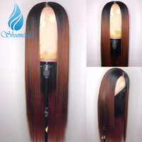 SHD Lace Front Human Hair Wig Ombre Color Straight Brazilian Remy Hair Bleached Knots Pre Plucked Hairline With Baby Hair