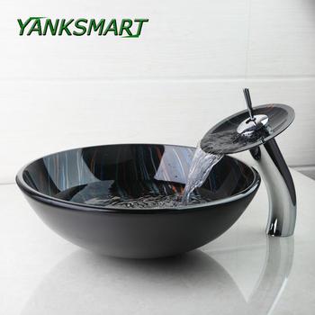YANKSMART umywalka do łazienki zestaw ręcznie malowana hartowana szklana umywalka miska umywalki naczynia umywalki + mosiężny kran krany spustowy tanie i dobre opinie Jeden otwór ROUND Szkło Ociekaczem 4281-1 Blat umywalki Wash Basin Ręcznie malowane Tempered Glass Basin Sink Vessel