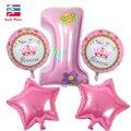 Feliz Cumpleaños Decoración Globo Número Rosa Azul 1r Cumpleaños Baloon Helio Globos Foil Globos Globos de Aire Conjunto