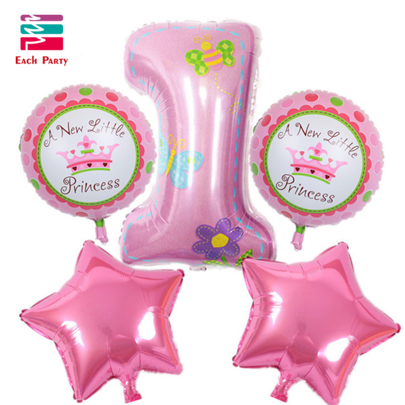 Happy Birthday Decoration Number Balloon Pink Blue Baloon Helium Foil Balloons Baby 1st Birthday Ballons Globos Air Balloons Set