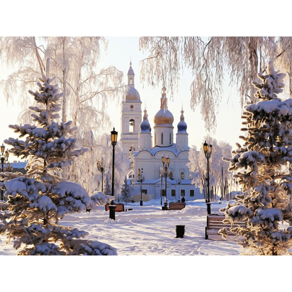 Papier A Peindre Motif diamant broderie hiver neige paysage plein carré diamant