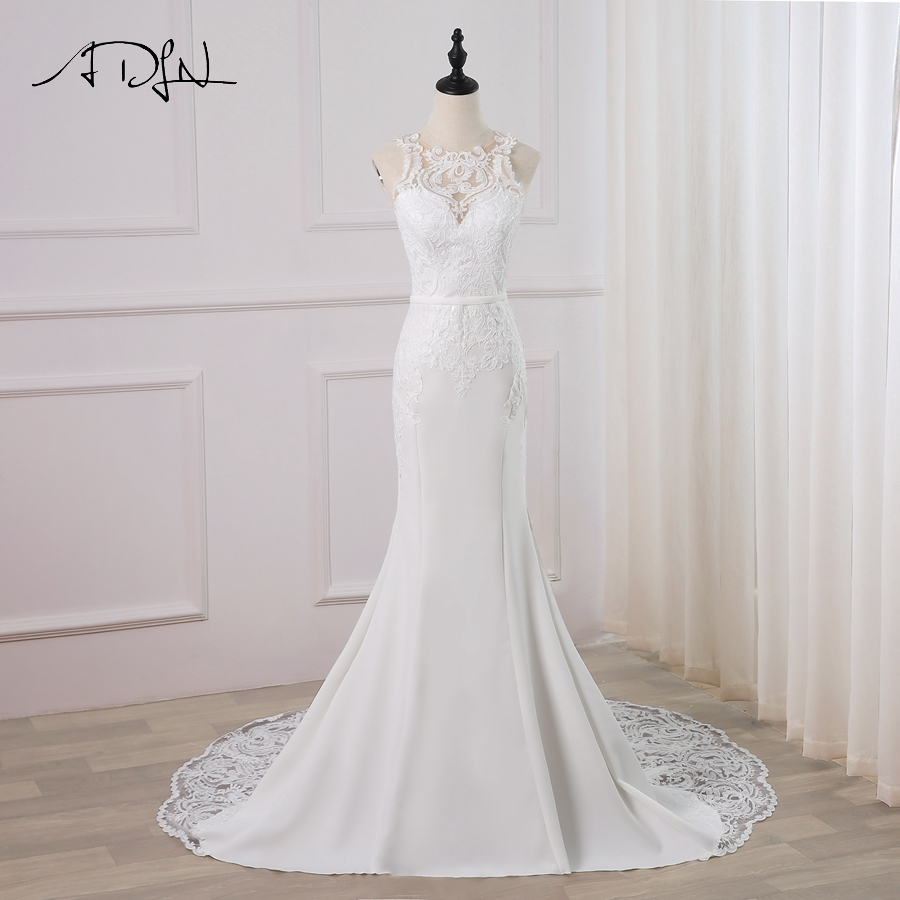 ADLN 2019 New Sexy Wedding Dress Vestido De Novia O-neck Sleeveless Applique Mermaid Wedding Gowns Robe De Mariage Zip Buttons
