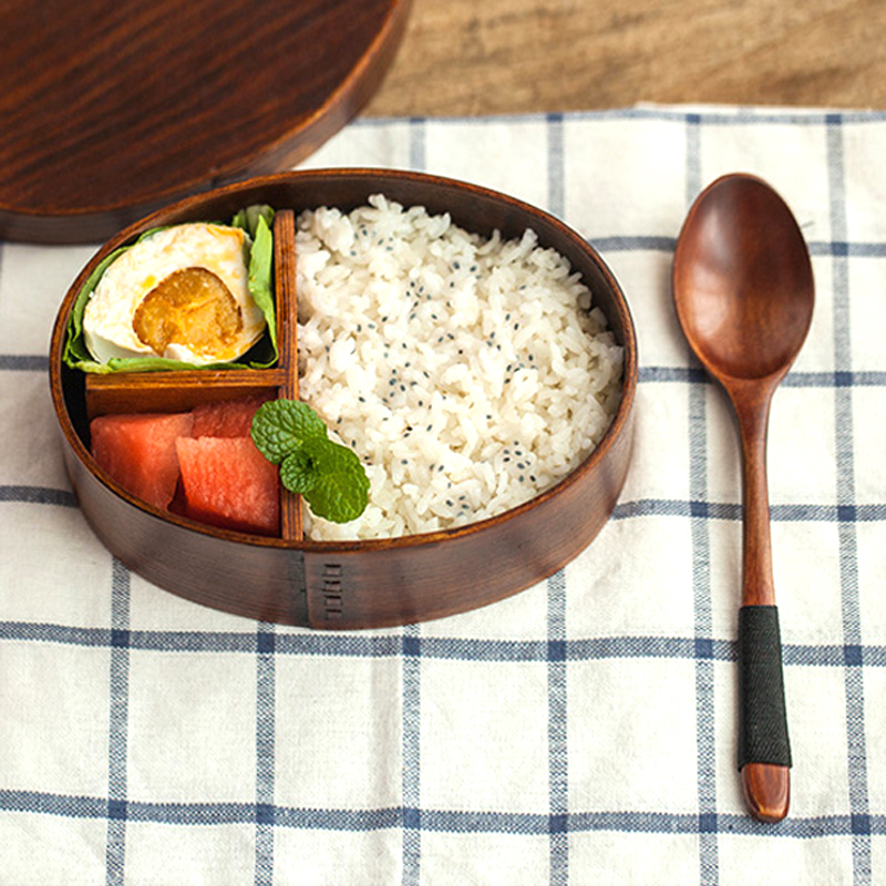 cheap bento boxes Wood Lunch Box Japanese Bento Boxes Handmade Natural Wooden Sushi Box Portable Food Container Dinnerware Set (9)