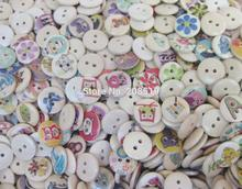 WBNNKA 3/5 round nature wood 15mm buttons mix 200 pieces randomly DIY craft supplies