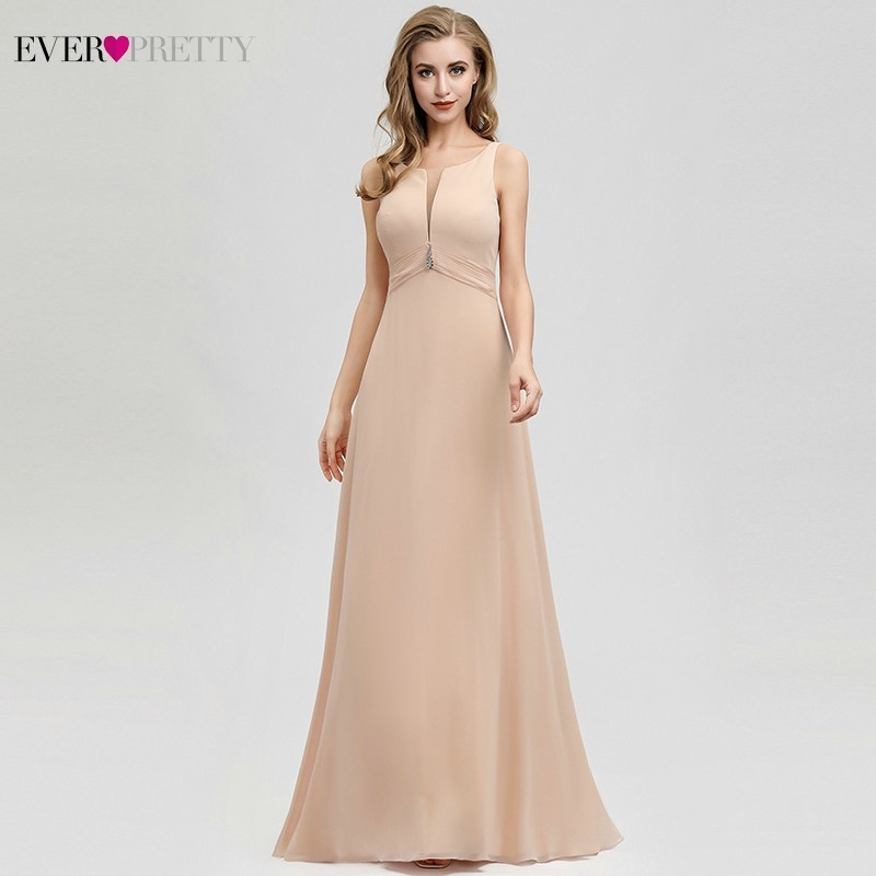 Ever Pretty Crystal Blush Evening Dresses A-Line O-Neck Ruched Elegant Formal Dresses For Party EP07980BH Robe De Soiree 2019