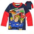 Новый 2017 пожарный сэм одежда мальчики с длинным рукавом дети дети ребенок весна осень 100% хлопок мальчика футболка
