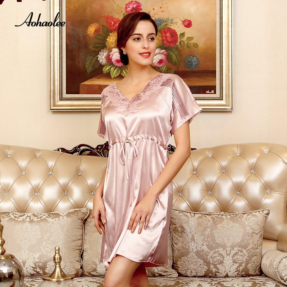 e75afe3bae AOHAOLEE Silk Robe Women Sexy Sleepwear Dress Short Sleeves Nightgowns Home  Sleepshirts V neck Lace Summer Sleepshirts Nightwear-in Nightgowns    Sleepshirts ...