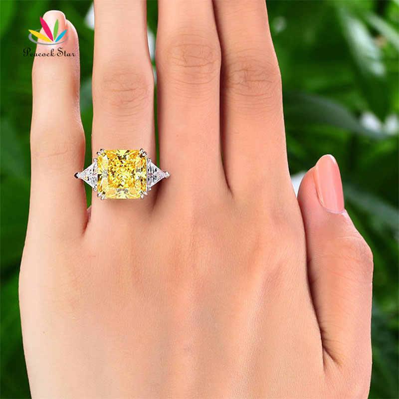 นกยูง Star Solid 925 เงินสเตอร์ลิงสาม-หินแหวน 8 กะรัตสีเหลือง Canary สร้าง Diamante CFR8157
