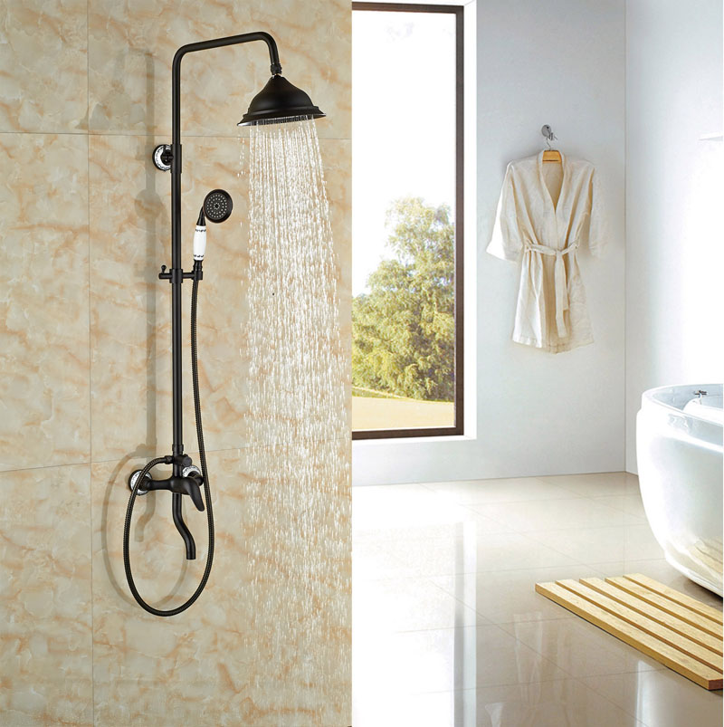 Oil Rubbed Broze Shower Set Bathroom Rainfall Shower Single Lever W/Hand Shower