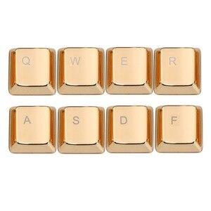Крышка ключа из цинкового сплава для механической клавиатуры MX Axis Серебристые/золотые металлические клавиши на клавиатуру Keypress WASD QWERASDF ARROW 37key