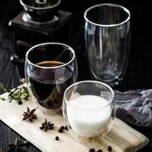 купить Double Wall Glass Handmade Transparent Fashion Coffee Mug Creative Heat-Resistant Coffee/Tea Cup Double Insulated Glass Cup дешево