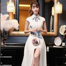 თეთრი გრძელი ნაქარგები Cheongsam საქორწილო ოფიციალური ჩინური ტრადიციული კაბა ქალები თანამედროვე Qipao Robe აღმოსავლური საღამო კაბები