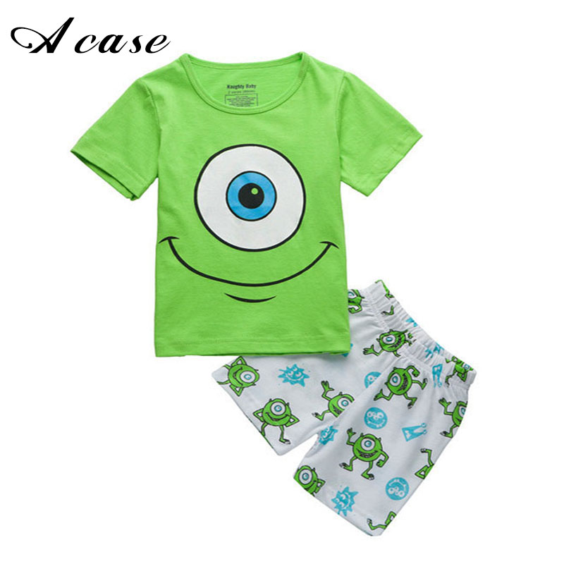 Kids Boys Cartoon Short Sleeved T-shirt + Shorts Trousers Outfits Summer 2018 Smile Big Eyes Pattern 2 3 4 5 6 7 8 Years Clothes