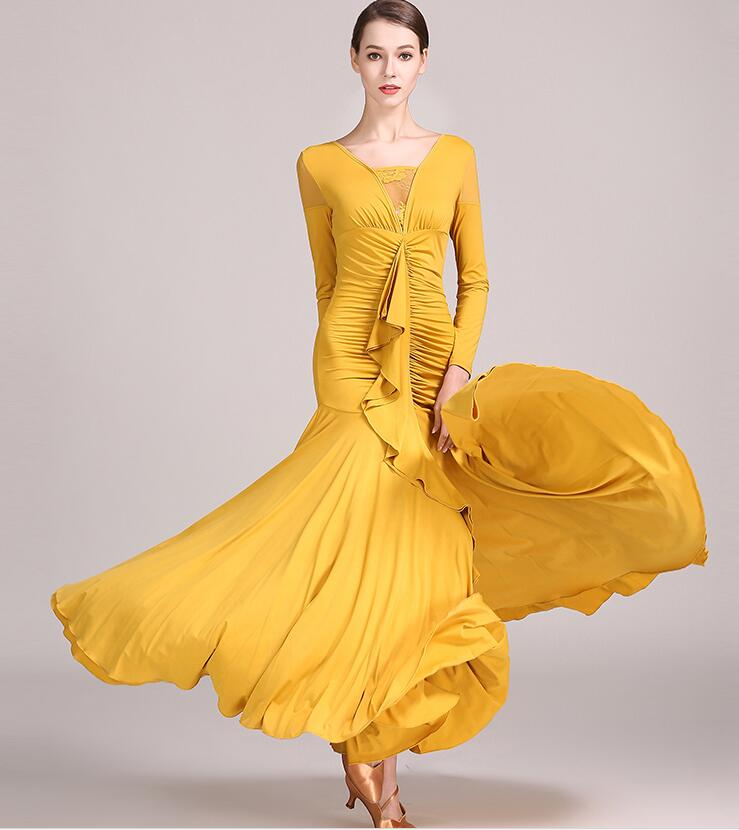 Waltz Dress Rumba Standard Smooth Dance Dresses Standard Dress Ballroom Dance Competition Dress  Yellow Green Purple S9033