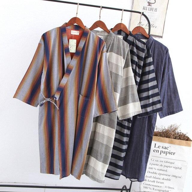 New Men s Dyed Double Gauze Robe Loose Casual Thin Cotton Robe Long Bathrobe  Kimono Night Robes Men Bath Robe Sleepwear a2fe899cd
