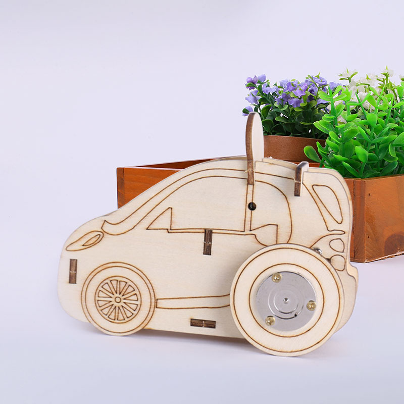 Wooden 3D Music Sports Car Toy Mechanical Assembly Toys Learning Puzzle Chidren