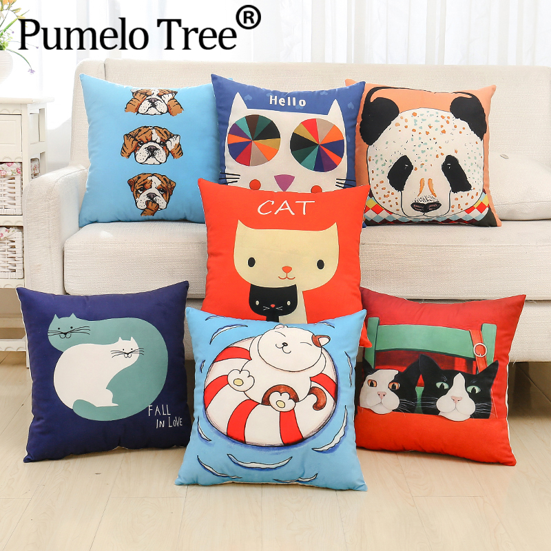 New Style Cute Animals Cat Lion Panda Birds Cover 40X40cm Soft Pillow Cases Pillow Covers Bedroom Sofa Decoration ...