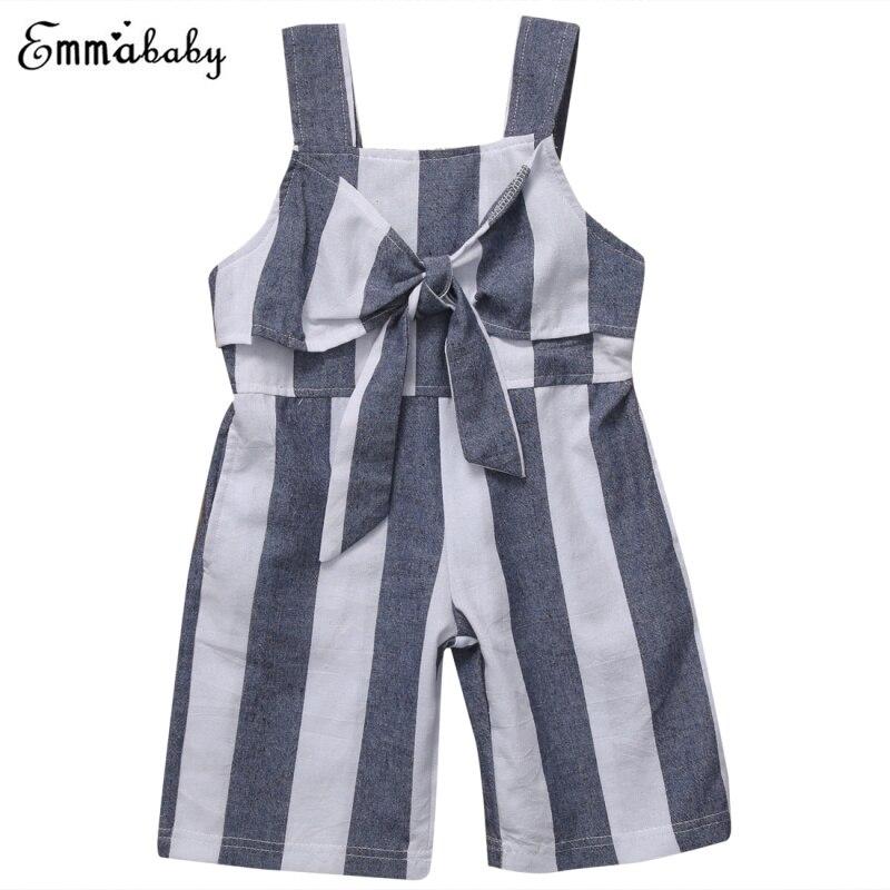 f43b02442 Bebé Niñas Mamelucos sin mangas romper niño ropa niños bownot mono rayas  ropa pierna ancha Pantalones trajes