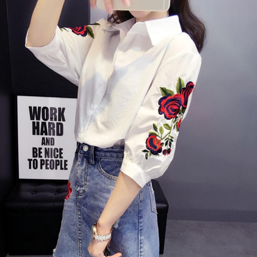 Oficina Abajo Bordado Floral Las Manga Camisa Señora Mujeres Verano Blusa W De Blanco Blusas Casual Collar 5807 Del Larga pwp7qHr