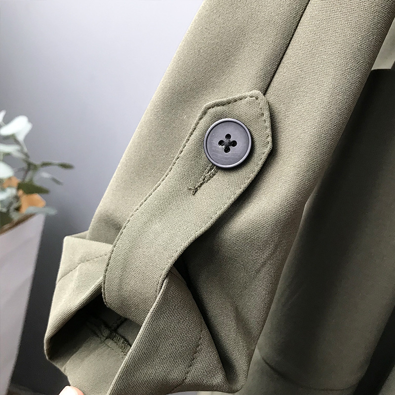 19 Spring Women Long Coat Turn Down Collar Harajuku Women Army Green Trench Coat Casaco Feminino Abrigo Mujer Trench Femme 14