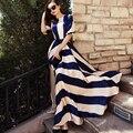 Платье Новая Мода случайные Бренд Платье Чехия длинные макси летний Пляж Платье Старинные платья женщин плюс размер полосатом платье печати