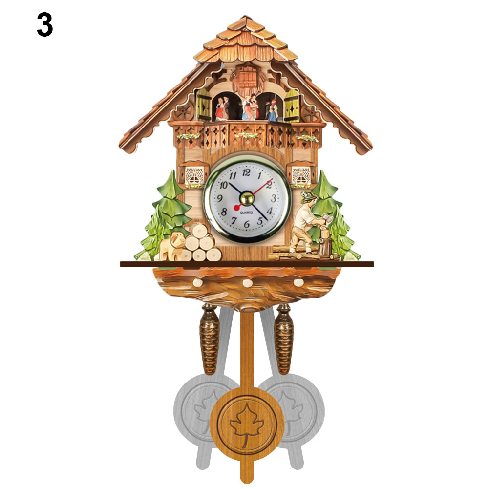 HOT Antique Wooden Cuckoo Wall Clock Bird Time Bell Swing Alarm Watch Home Art Decor TI99