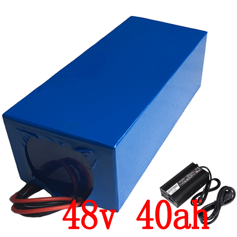 2000w Lithium 48v 40ah Battery for 48v Electric Bicycle Drive Motor with 54.6V Charger 50A BMS eBike Battery 48v Free Shipping free customs taxes high quality skyy 48 volt li ion battery pack with charger and bms for 48v 15ah lithium battery pack