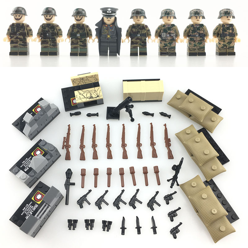 8PCS WW2 German Army Soldiers weapons defense fortress building blocks  Bricks Compatible LegoINGlys Military toys for children