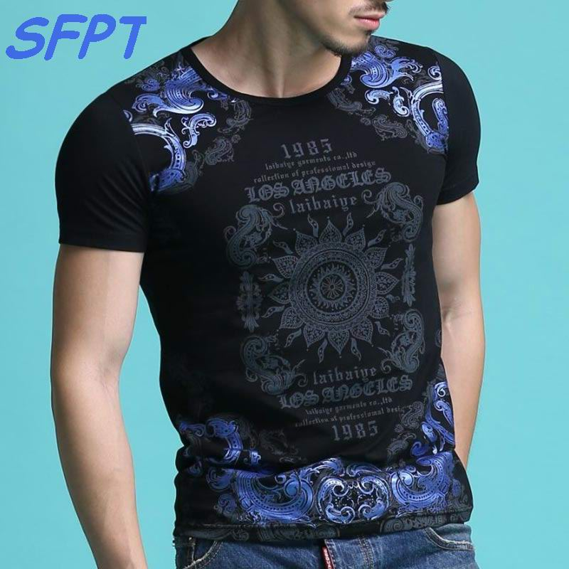 2017 Summer Mens Casual T Shirts O-neck Black Blue Ballot style Print Brand Man's Short Sleeve Slim T-Shirts Male Tops Tee