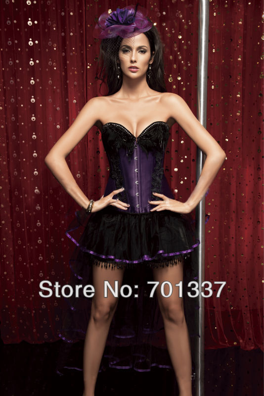 2 Colors Sexy lingerie Purple   Bustiers   &   Corsets     Corset   Fancy Dress party wear W1342 S--XXL