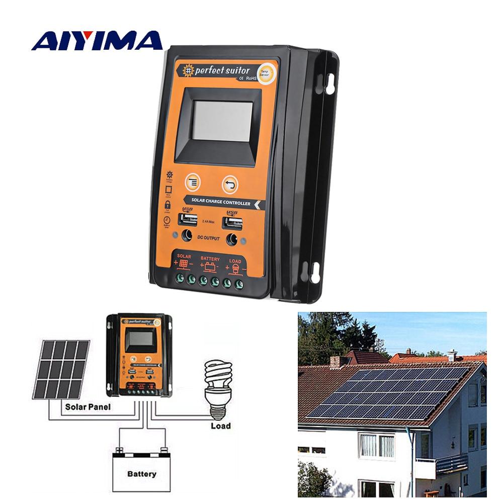 AIYIMA 12V 24V 70A Soalr Charge Controller MPPT Solar Controller Solar Panel Battery Regulator Dual USB
