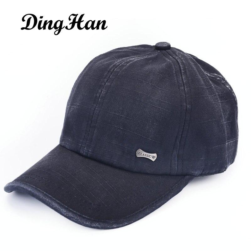 [DingHan] Fashion Baseball Cap Polo Hat Water Wash Retro Finishing Male Women'S Summer Snapback Sun Bonnet 100% Cotton Pure Cap