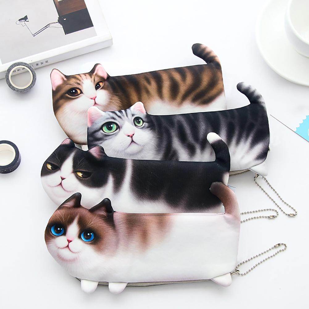 Luggage & Bags Charitable 2018 New Kawaii Novelty Simulation Cartoon Cat Pencil Case Soft Cloth School Stationery Pen Bag Gift For Girl Boy Student High Resilience
