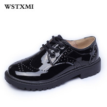 2017 Brand Children Genuine Leather Shoes For Little Boys Girls Dress Black Flat Dancing Wedding Lace Up School Students Shoes