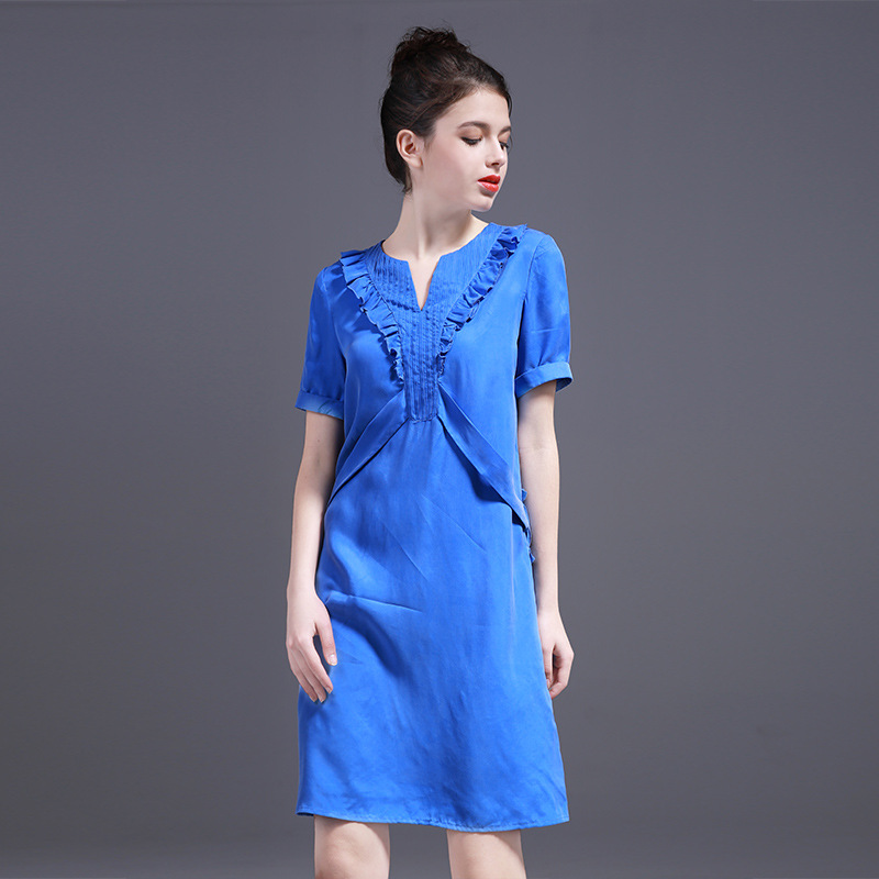 Summer Women Dress 2017 Spring New Style high quality Dresses for women v neck fashion Blue