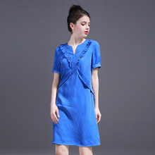 Summer Women Dress 2017 Spring New Style high quality Dresses for women v-neck fashion Blue Dress female Free Shipping ZY1709L