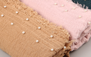Image 3 - 10 PC/lot Cotton Scarf Beads Bubble Pearl Wrinkle Shawls Hijab Fringe Crumple Muslim scarves/scarf 55 Color