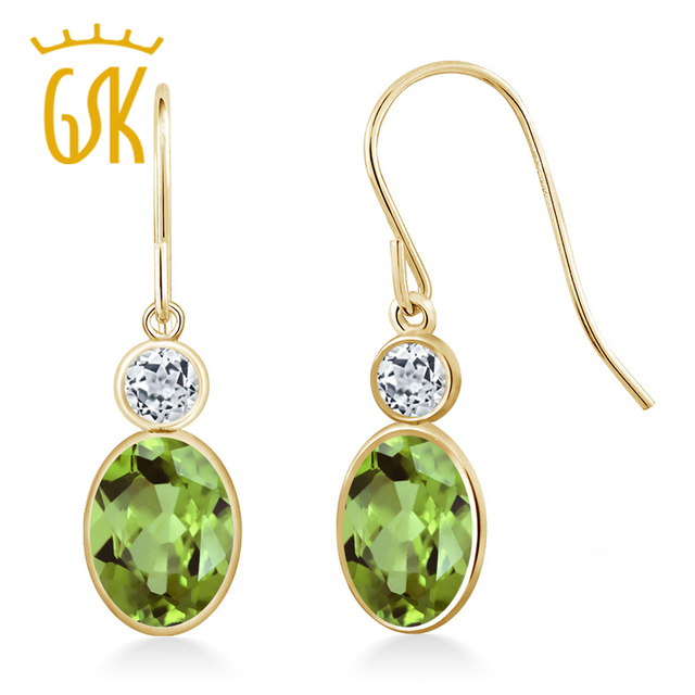 Gemstoneking Peridot Jewelry 1 88 Ct Oval Natural Green White Topaz 14k Yellow Gold Drop Earrings